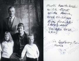 Matti Kantokoski with first wife Anna, and children Eva Annikki (Ann) and Veikko Vesa (Vic) in Sudbury, Ontario