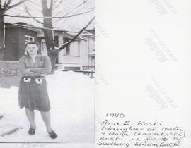 1940 - Ann E. Koski (daughter of Matti + Anna (Kantokoski) Koski in front of Sudbury Steam Bath