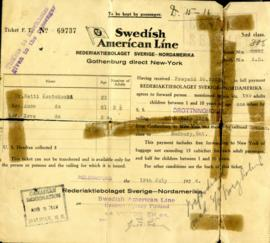 Ticket F.T. No. 69737 Swedish American Line Rederiaktiebolaget Sverige-Nordamerika Gothenburg direct New-York