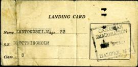 Landing Card for Matti Kantokoski